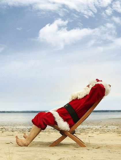 santa relaxing beach